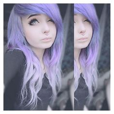 instagram, purple hair, white hair, wink septum, alternative, emo,... ❤ liked on Polyvore featuring hair