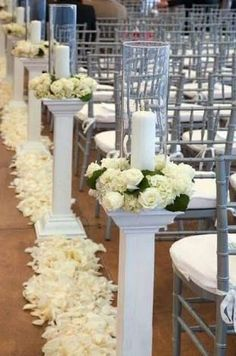 Image result for how to hand make wedding pillars and columns #howtomakeweddingcenterpieces Wedding Aisle Decorations, Wedding Centerpieces, Wedding Pillars, Mod Wedding, Wedding Ideas, Wedding White, Event Decor, Just In Case, Wedding Flowers