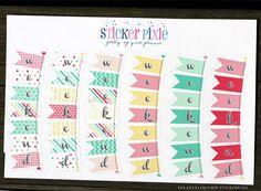 Erin Condren Life Planner bunting weekend sticker sheets, Kikki K, Planner Stickers, horizontal ECLP yellow red pink by StickerPixie on Etsy https://www.etsy.com/listing/244792256/erin-condren-life-planner-bunting