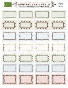 Free replicated antique ornate blankApothecary labels for artisans, crafters and designers are designed by Cathe Holden of Justsomethingimade.com. Labels are in editable PDF templates ready to print in your laser and inkjet printers. Use them for gift tags, bottles, small contatiners, favors, address labels and lots lots more. Enjoy -:)Print ...