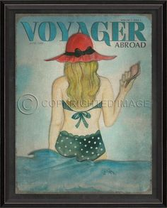 Voyager Abroad - June 1990 art print featuring a vintage-inspired green polka-dotted bathing beauty complete with shells and her beach hat. Serengeti National Park, Magazine Cover Design, Travel Magazines, Fear Of Flying, Bathing Beauties, Beach Cottages, Beach Fun, Vintage Inspired, Art Prints