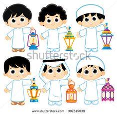 Kids celebrating Ramadan and carrying Lanterns