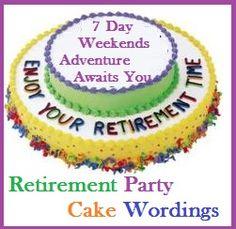Classic Cake Wordings! : Retirement Party Cake