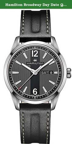 Hamilton Broadway Day Date Quartz H43311735 Black / Black Stainless Steel Analog Quartz Men's Watch. This stylish timepiece from Hamilton's Broadway collection has been adapted for men with a busy city life and a taste for style. While the caseback sports a design reminiscent of New York drain covers, the dial features tall, straight lines that seemingly extend upwards past the dial, calling to mind the towering skyscrapers of the City. For a user-friendly display, the dial features a...