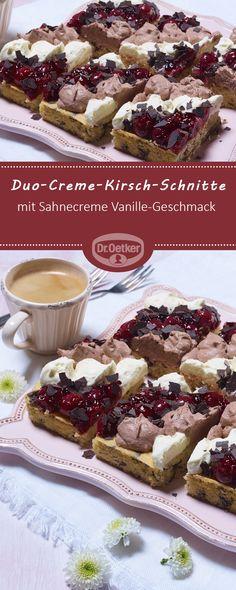 Duo-Creme-Kirsch-Schnitte - Leckerer Rührteig vom Blech mit Sahnecreme Vanille-Geschmack und Schoko #rezept #lecker