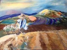 Harvest Time in France - Acrylic Painting On Stretched Canvas Pink And White Flowers, Landscape Artwork, Fantasy Paintings, Harvest Time, Canvas Artwork, Stretched Canvas, Picture Show, Beautiful Landscapes, Promotion