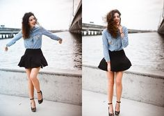 tucked in chambray into a high-waisted skirt...<3