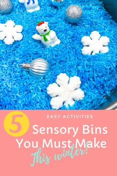 get the best ideas for toddlers to make this winter , make a colored rice sensory bin, cotton sensory bin and even a fake snow or homemade snow sensory bin #sensorybin #sensorybins #wintersensorybin #sensoryplay #sensoryactivities