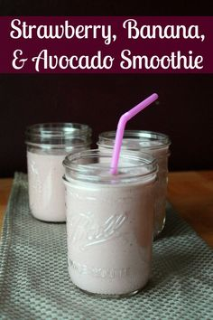 Strawberry, Banana, and Avocado Smoothie Recipe. Putting avocado in a smoothie is delicious. Gives it a nice milkshake like texture.