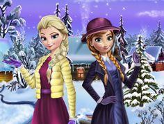 Elsa and Anna Winter Dress Up