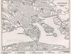 1897 Victorian Antique Map the City of Stockholm Sweden