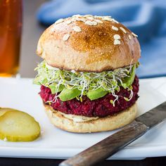 Beet and Chickpea Quinoa Burgers