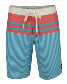 The RVCA Honcho Boardshorts are 2-way stretch trunks with a striped print body, zipper and drawcord closure at fly, and a welt pocket on side.