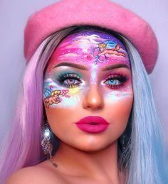 На данном изображении может находиться: 1 человек, часть тела крупным планом Face Paint Makeup, Eye Makeup Art, Glossy Makeup, Clown Makeup, Cool Makeup Looks, Crazy Makeup, Cute Makeup, Gorgeous Makeup, Bright Pink Eye Makeup