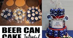 A baby is brewing beer can cake tutorial. Great for a beer & diaper party or 21st birthday. You can also use soda cans.