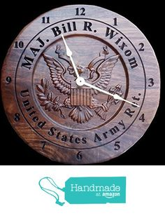 Wall clock Personalized Engraved retirement gift carved wooden Army clock military service award plaque anniversary gifts for veterans. from Unique Gifts Of Wood
