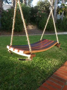 Wine Barrel Stave Swing by TCBarrelWorks on Etsy