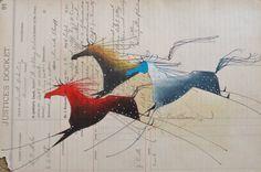 Donald FMontileaux horse art ledger Lakota Plains Indian art