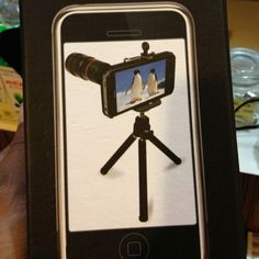 Tripod+zoom lens+soft case for iPhone, Rp 350K. Spotted in Mall Taman Anggrek, Jakarta.