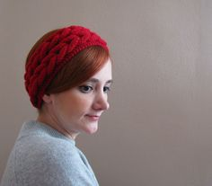 Red Double Braided Knitted Headband