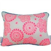 Neon Pink on white with blue Pom Pom Cushion Cover $45