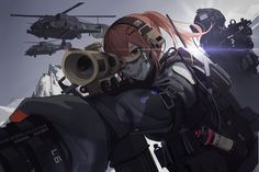 Anime picture with original black soldier long hair highres fringe brown eyes looking away ponytail absurdres hair between eyes wind head tilt upper body outdoors mountain fighting stance sniper girl uniform gloves Cool Anime Girl, Beautiful Anime Girl, Anime Art Girl, Anime Girls, Fantasy Character, Character Art, Character Design, Anime Military, Military Girl