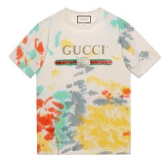 Gucci Gucci Print Cotton T-Shirt found on Polyvore featuring tops, t-shirts, shirts, cotton, ready-to-wear, sweatshirts & t-shirts, women, pink tie dye shirts, pink shirt and tee-shirt