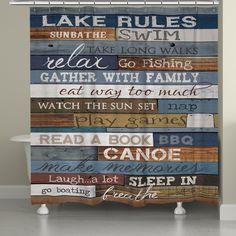Lake Rules Shower Curtain, Lake Rules by Marla Rae