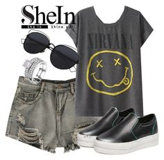 """SheIn"" by deedee-pekarik ❤ liked on Polyvore featuring WithChic, shorts, greyshorts and shein"