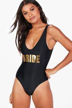 boohoo Acapulco Bride Slogan Swimsuit