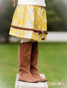 Love the yellow and brown together, and the twirl skirts are so popular with the little ones!