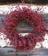 RAG & BERRY WREATH - RED PLAID VALENTINES - FARMHOUSE PRIMITIVE LODGE DECOR