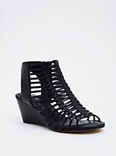 e5cf98c6641c Faux Leather Cage Mini Wedges (Wide Width)