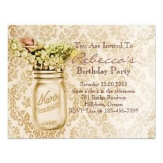 damask mason jar floral vintage birthday party custom invitation