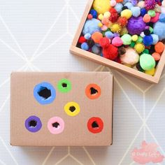 Pom Pom Push 👇🏼🌈 A simple Fine Motor Activity I put together for & You may receive lots of boxes over the Christmas period, I highly recommend you keep them to create simple skill building activities like this for your Baby, Toddlers & Preschoolers! Toddler Fine Motor Activities, Motor Skills Activities, Montessori Activities, Infant Activities, Fine Motor Skills, Fun Activities, Toddler Activity Board Motor Skills, Fine Motor Activity, Christmas Toddler Activities