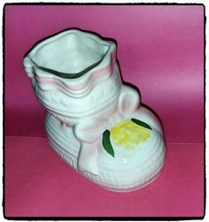 Vintage Ceramic Baby Girl Bootie Shoe by PurePoetrysEmporium