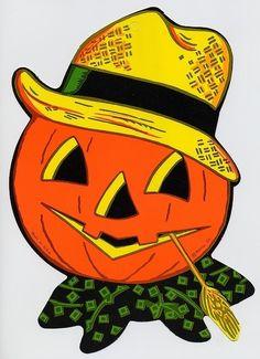 Beistle Jack-o-lantern vintage halloween pumpkin scarecrow Retro Halloween, Beistle Halloween, Vintage Halloween Images, Vintage Halloween Decorations, Halloween News, Halloween Clipart, Halloween Goodies, Halloween Pictures, Holidays Halloween