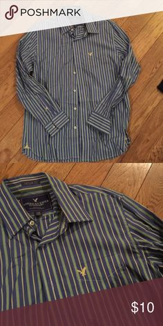 Men's striped button down Excellent condition.  Comes from pet free, smoke free home. American Eagle Outfitters Shirts Casual Button Down Shirts