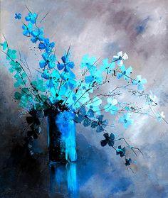 Art still life blue flowers