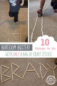 10 Fun Indoor Activities with Only A Bag of Craft Sticks!