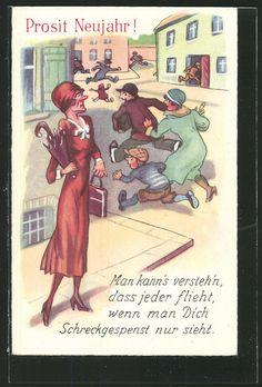 old postcard: AK Alles flüchtet vor der Frau - dem Schreckgespenst, frauenfeindlicher Humor
