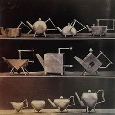 Dr Christopher Dresser – selection of his teapot designs from James Dixon & Sons, Sheffield, England . Circa 1879