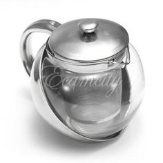 Stainless-Steel-Glass-Faced-Modern-Infuser-Teapot-Herbal-With-Tea-Leaf-500ml-UK