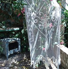 Antique French Net Curtain Large Floral Victorian Off White Needle Filet Curtain Handmade Cotton Panel Fringe Trimmed #sophieladydeparis