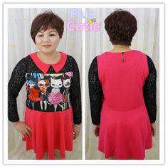 #Plus Size#Kitty#Printing#Lace Sleeve#Chiffon#Dress# Free Shipping