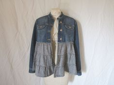 Mandarin Collar Tweed Wool & Denim Jacket - Size Medium  - Upcycled Boho Jean Jacket