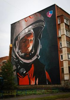 Yuri Gagarin, Paint-wall in Russia.
