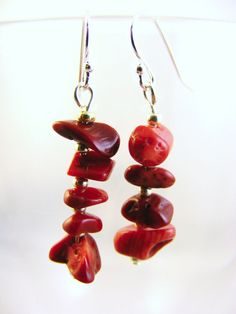 Unique Drop Earrings Red Coral Chips Nuggets Sterling Silver Hooks Free Shipping #BullockDorchesterCollection #DropDangle