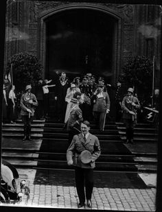 Jaunty Hitler at the conclusion of the Goering wedding, 1935.