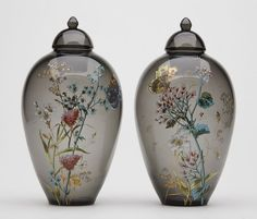 ANTIQUE MOSER BUTTERFLY & FLORAL LIDDED JARS C.1910